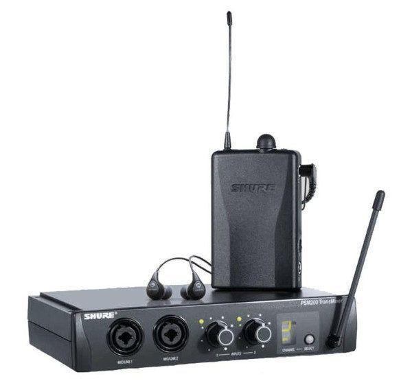SHURE PSM 200 ricevitore P2R Trasmettitore P2T e auricolari SE112