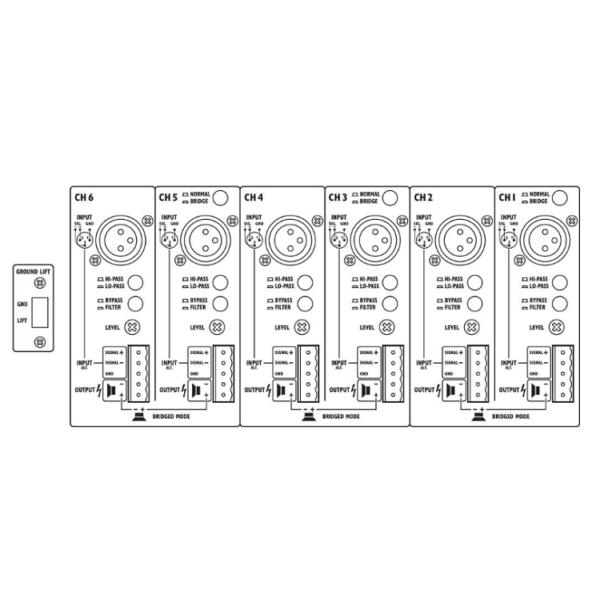 Monacor STA-1506 Amplificatore stereo multicanale 6ch
