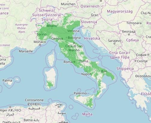 Illustrazione della copertura segnale DAB+ in Italia, 2018. Fonte: dab.it.