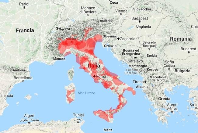 Illustrazione della del segnale DAB+ di Eurodabitalia, dati anno 2019. Fonte: www.eurodabitalia.it.