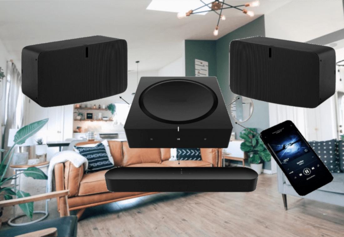Sistema audio multiroom wireless composto da casse wireless e soundbar, amplificatore e smartphone come sorgente audio