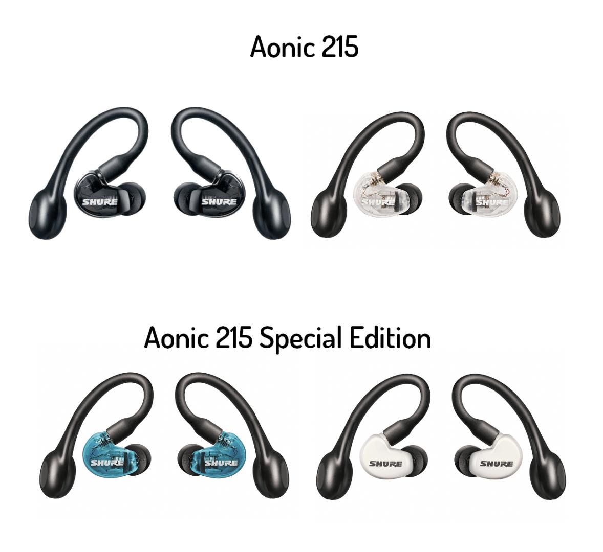 Le 4 finiture di Aonic 215: nero, chiaro, trasparente, blu.