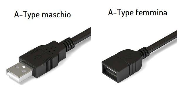 Cavo digitale USB A-type maschio e femmina