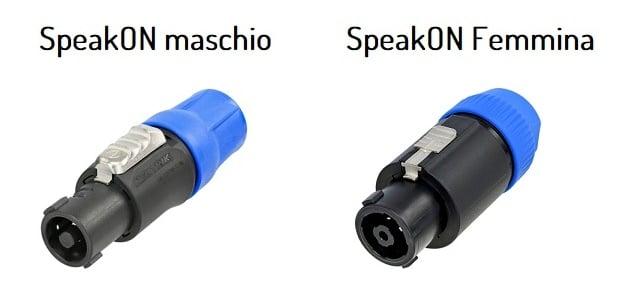 Esempio di connettore SpeakON per cavi - maschio e femmina