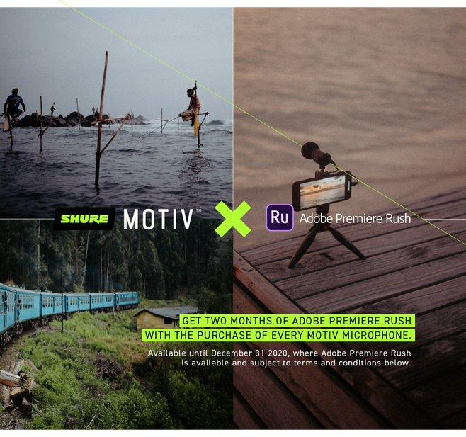 Dettagli offerta Shure Motiv + Adobe Premiere Rush